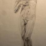 "After Michelangelo's Dying Slave 25"" x 12"" graphite"