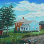 "Cook Family Homestead 20"" x 25"" casein SOLD"