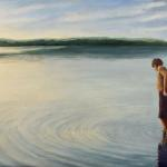 "Wading for Manitou 18"" x 48""  Oil on linen,  sold"